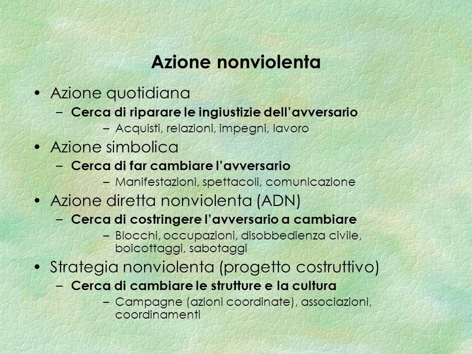 Funzioni delle azioni nonviolente Lazione quotidiana –E testimonianza e base di un processo collettivo Lazione simbolica –Permette una presa di coscienza del conflitto.