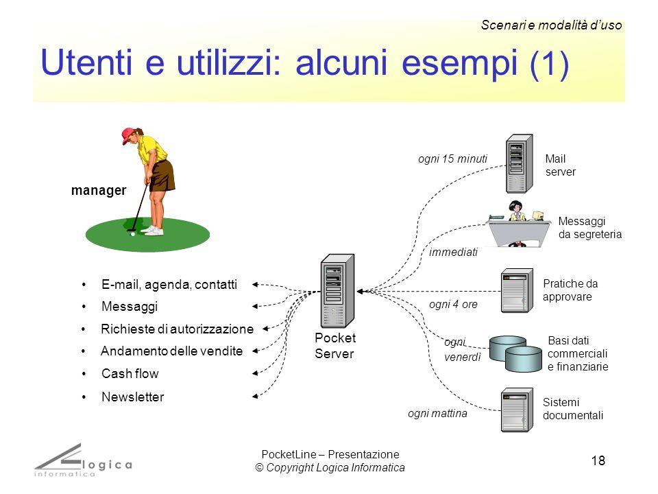 18 Utenti e utilizzi: alcuni esempi (1) manager Pocket Server E-mail, agenda, contatti Mail server ogni 15 minuti Messaggi da segreteria Messaggi imme