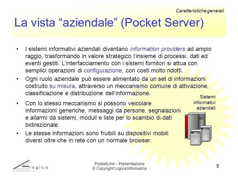 5 La vista aziendale (Pocket Server) Sistemi informativi aziendali I sistemi informativi aziendali diventano information providers ad ampio raggio, tr
