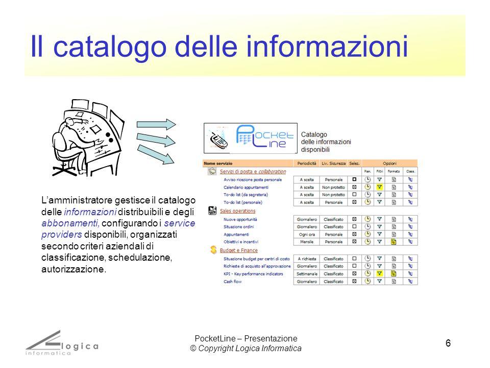 6 Il catalogo delle informazioni Lamministratore gestisce il catalogo delle informazioni distribuibili e degli abbonamenti, configurando i service pro