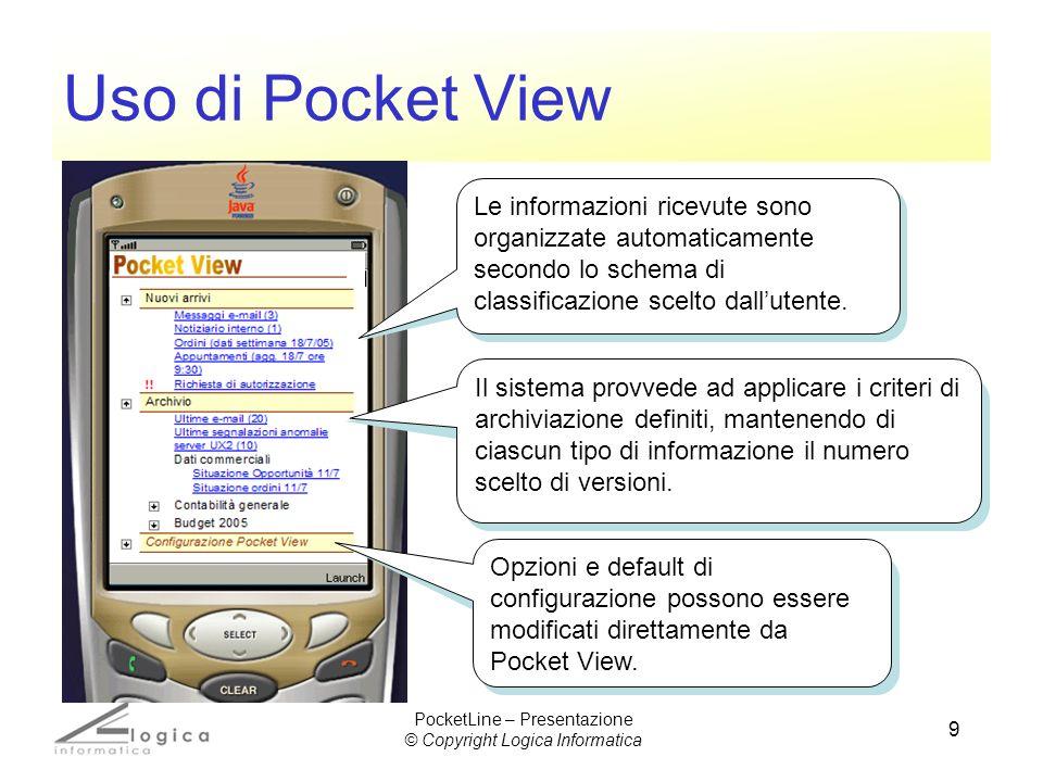 9 Uso di Pocket View Le informazioni ricevute sono organizzate automaticamente secondo lo schema di classificazione scelto dallutente. Il sistema prov