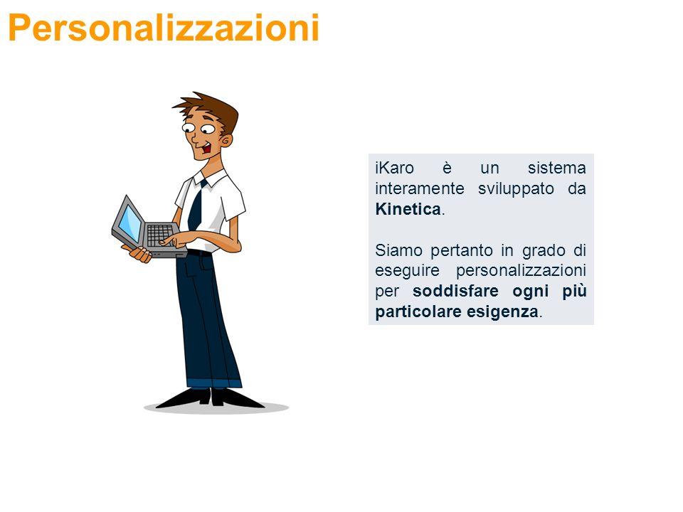 Personalizzazioni iKaro è un sistema interamente sviluppato da Kinetica.