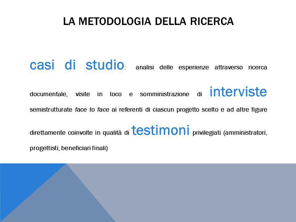 LA METODOLOGIA DELLA RICERCA casi di studio : analisi delle esperienze attraverso ricerca documentale, visite in loco e somministrazione di interviste
