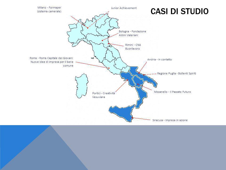 Roma - Roma Capitale dei Giovani: Nuove idee di impresa per il bene comune Andria - In contatto Missanello - Il Passato Futuro Siracusa - Impresa in a