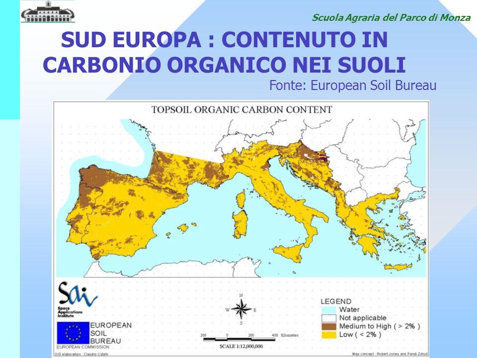 SUD EUROPA : CONTENUTO IN CARBONIO ORGANICO NEI SUOLI Fonte: European Soil Bureau