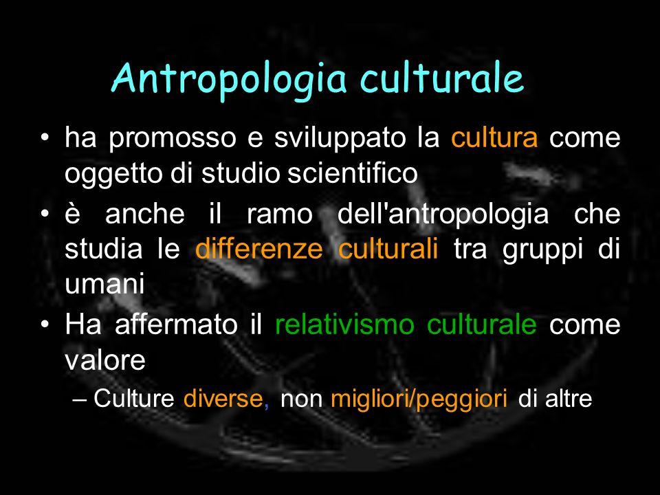 Antropologia culturale ha promosso e sviluppato la cultura come oggetto di studio scientifico è anche il ramo dell'antropologia che studia le differen