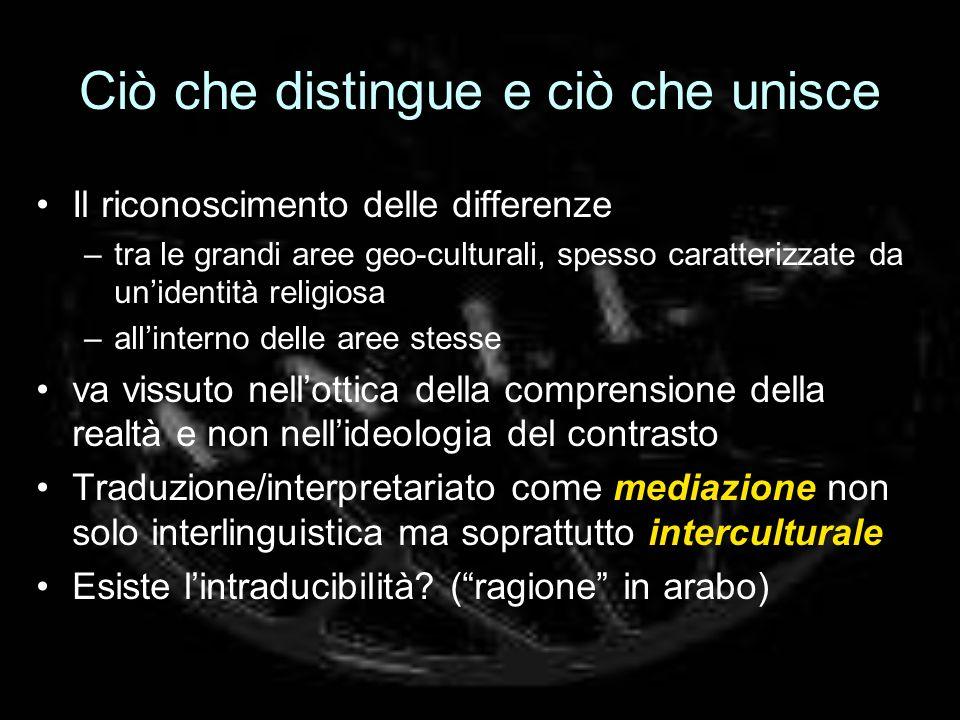 Ciò che distingue e ciò che unisce Il riconoscimento delle differenze –tra le grandi aree geo-culturali, spesso caratterizzate da unidentità religiosa