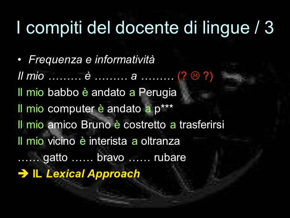 I compiti del docente di lingue / 3 Frequenza e informatività Il mio ……… è ……… a ……… (? ?) Il mio babbo è andato a Perugia Il mio computer è andato a