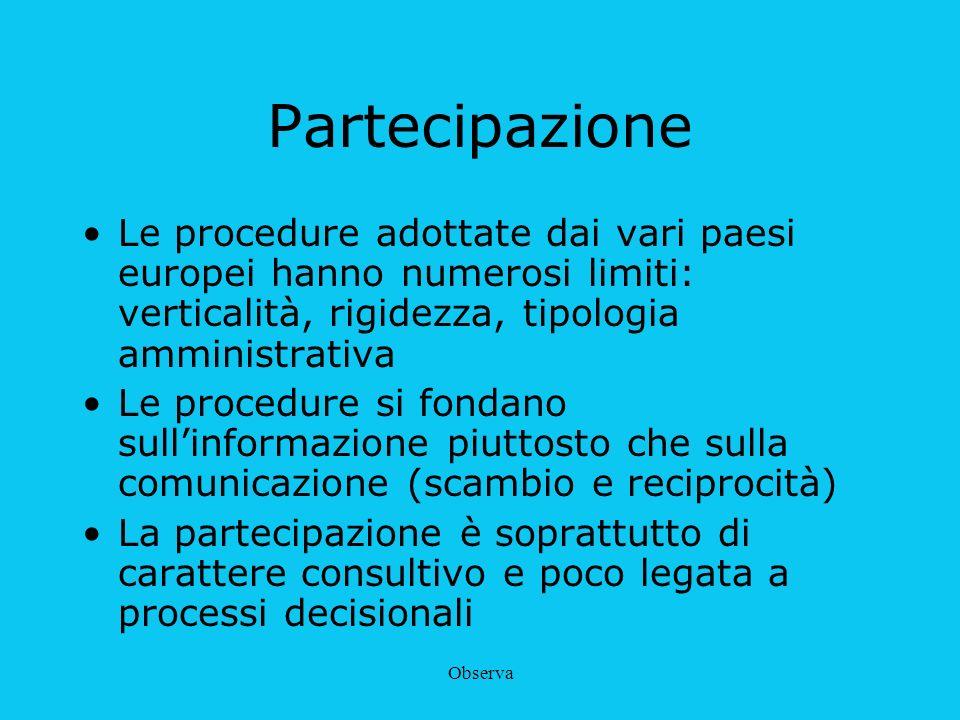 Observa Partecipazione Le procedure adottate dai vari paesi europei hanno numerosi limiti: verticalità, rigidezza, tipologia amministrativa Le procedu