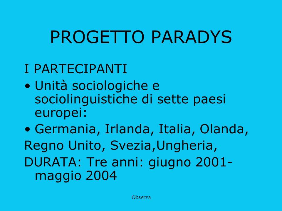 Observa PROGETTO PARADYS I PARTECIPANTI Unità sociologiche e sociolinguistiche di sette paesi europei: Germania, Irlanda, Italia, Olanda, Regno Unito,
