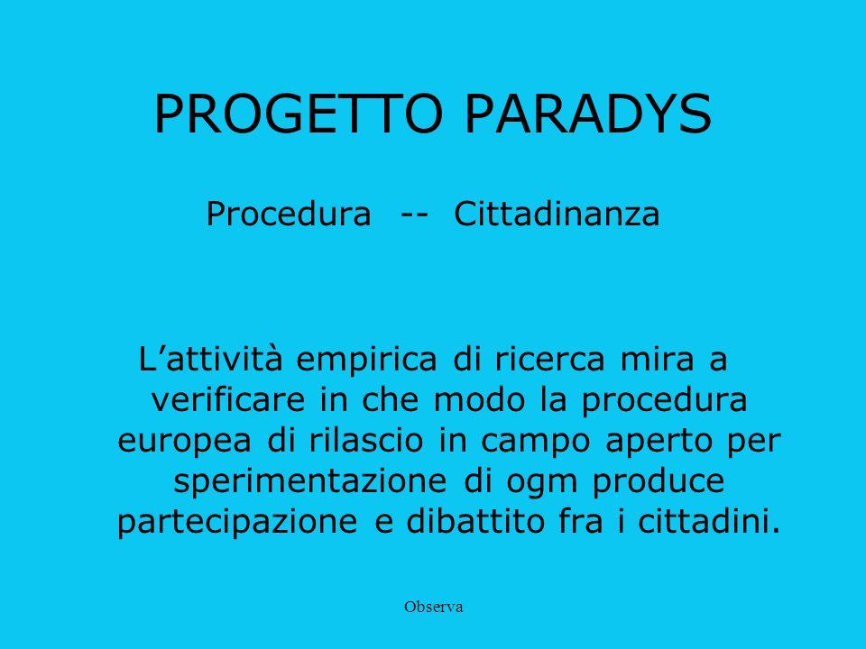 Observa PROGETTO PARADYS Procedura -- Cittadinanza Lattività empirica di ricerca mira a verificare in che modo la procedura europea di rilascio in cam