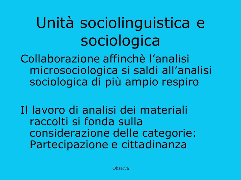 Observa Unità sociolinguistica e sociologica Collaborazione affinchè lanalisi microsociologica si saldi allanalisi sociologica di più ampio respiro Il