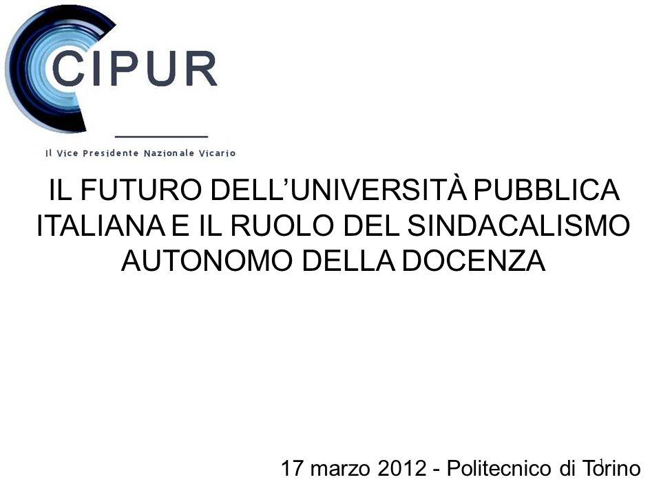 1 IL FUTURO DELLUNIVERSITÀ PUBBLICA ITALIANA E IL RUOLO DEL SINDACALISMO AUTONOMO DELLA DOCENZA 17 marzo 2012 - Politecnico di Torino