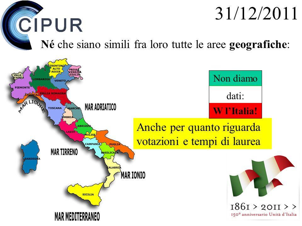 24 Anche per quanto riguarda votazioni e tempi di laurea 31/12/2011 Né che siano simili fra loro tutte le aree geografiche: Non diamo dati: W lItalia!