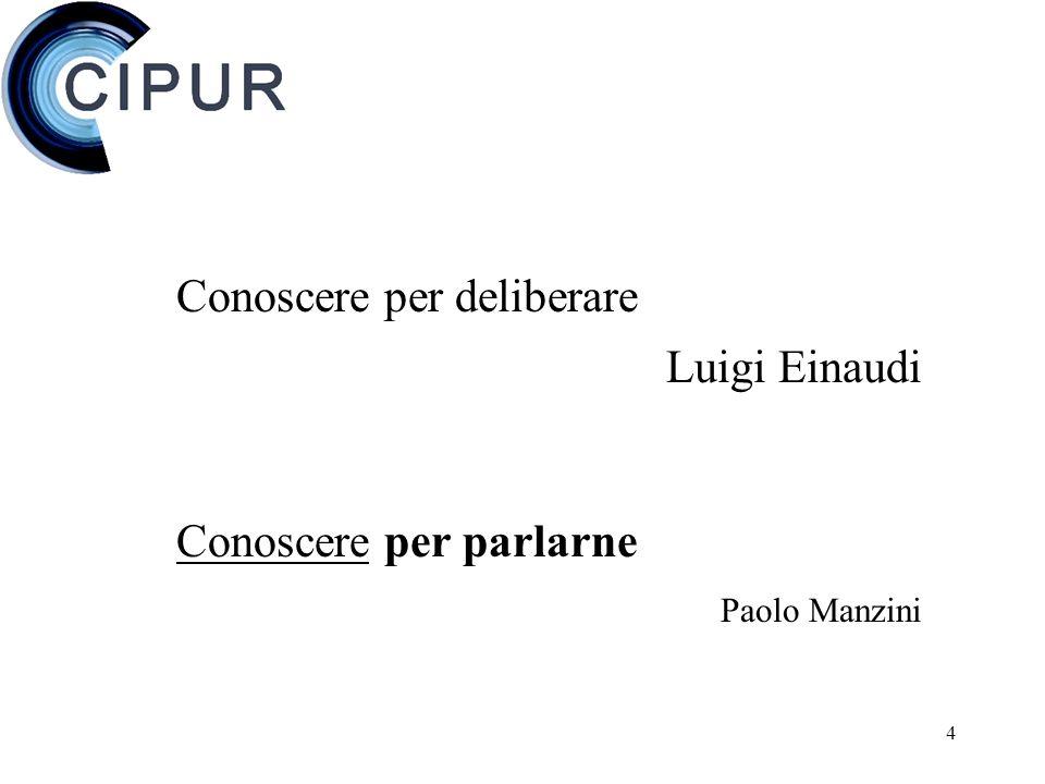 4 Conoscere per deliberare Luigi Einaudi Conoscere per parlarne Paolo Manzini