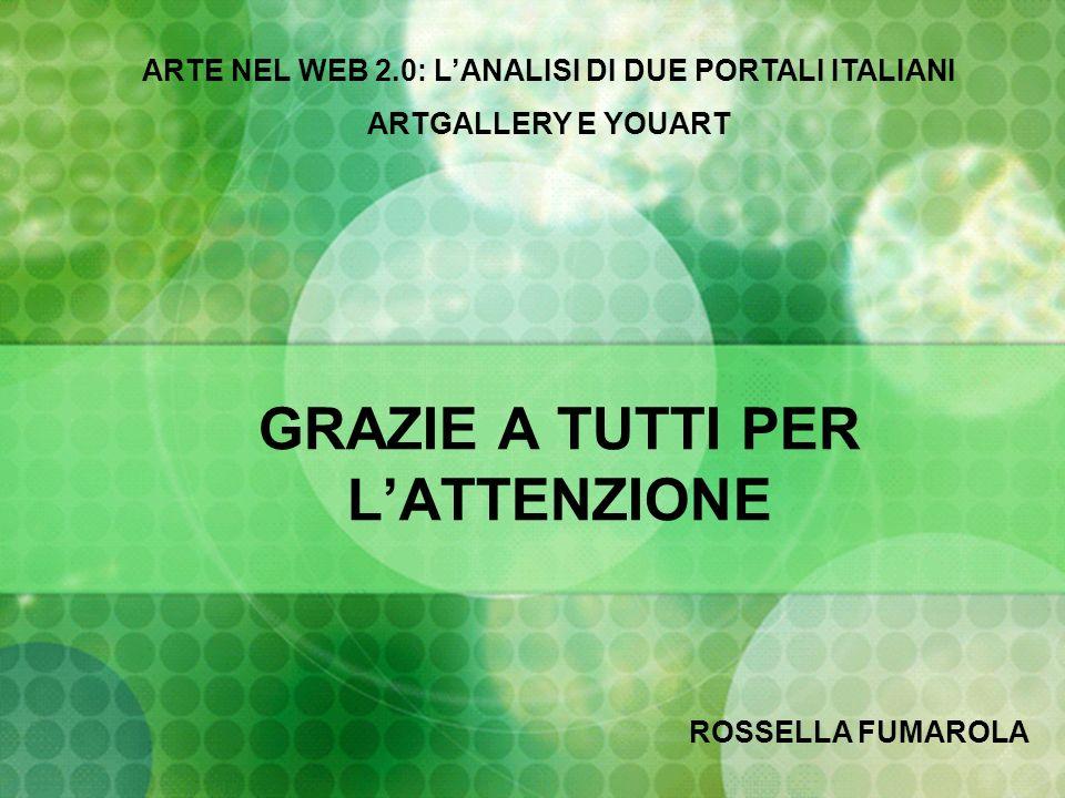 GRAZIE A TUTTI PER LATTENZIONE ARTE NEL WEB 2.0: LANALISI DI DUE PORTALI ITALIANI ARTGALLERY E YOUART ROSSELLA FUMAROLA
