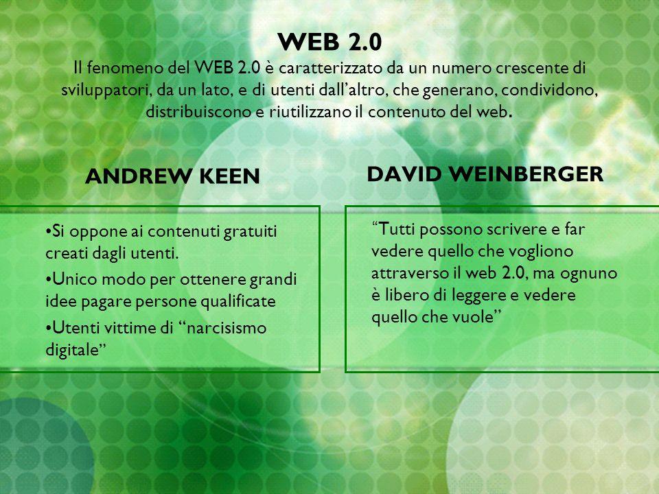 WEB 2.0 Il fenomeno del WEB 2.0 è caratterizzato da un numero crescente di sviluppatori, da un lato, e di utenti dallaltro, che generano, condividono,