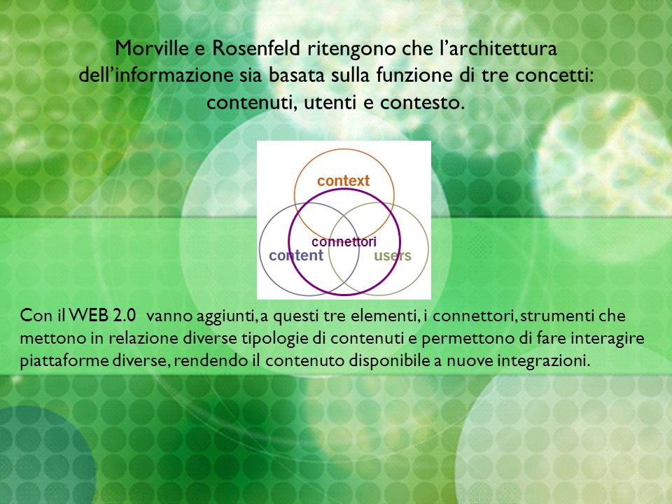 Morville e Rosenfeld ritengono che larchitettura dellinformazione sia basata sulla funzione di tre concetti: contenuti, utenti e contesto. connettori