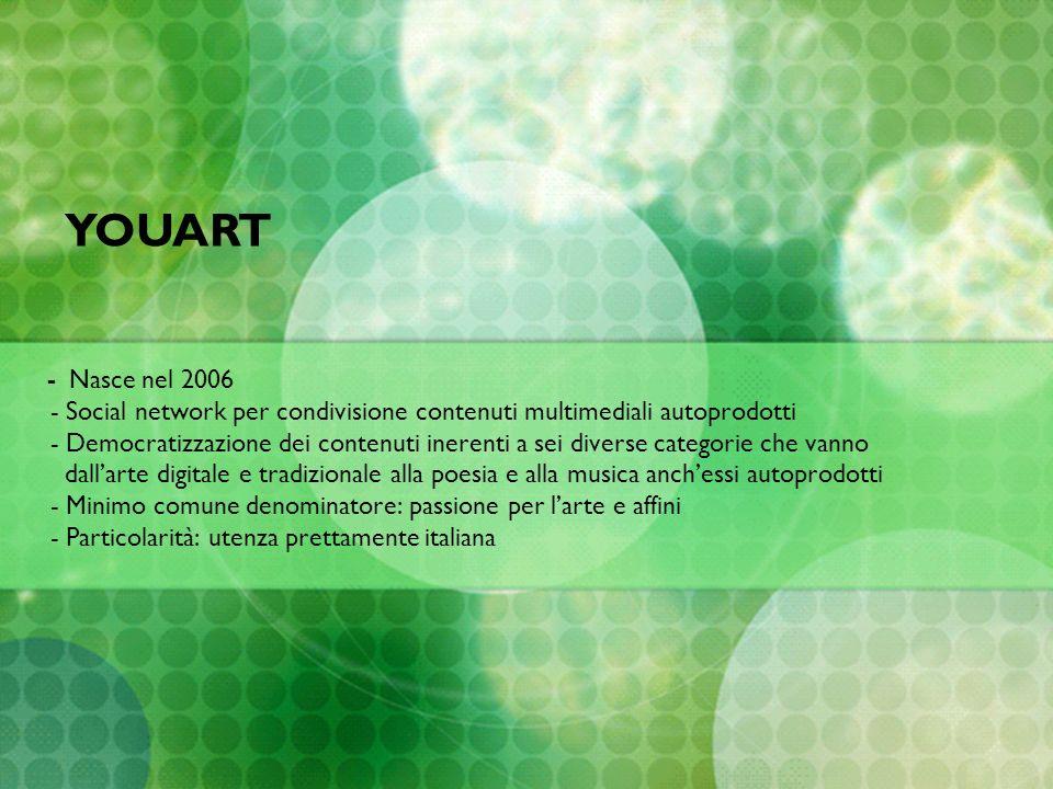 - Nasce nel 2006 - Social network per condivisione contenuti multimediali autoprodotti - Democratizzazione dei contenuti inerenti a sei diverse catego
