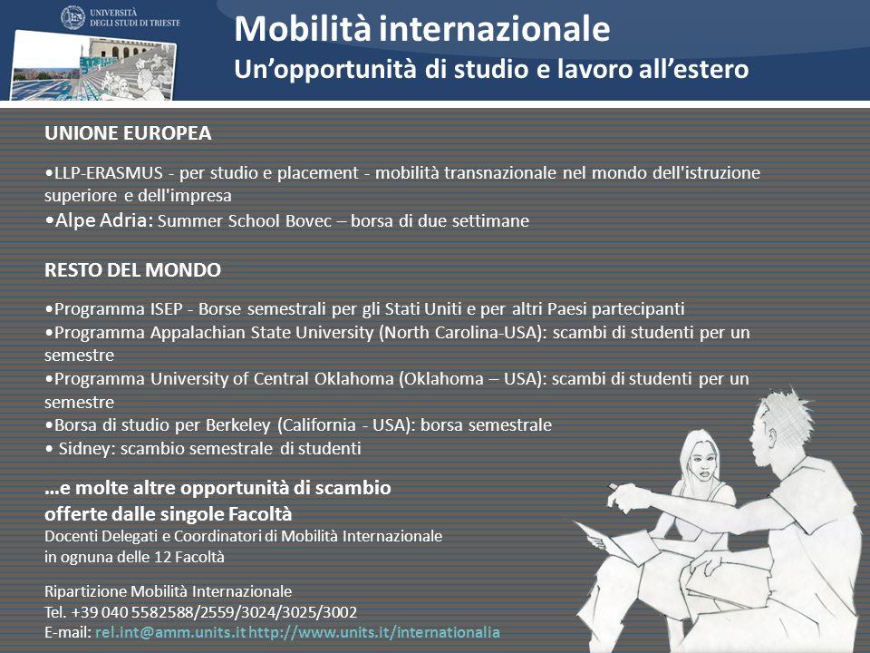 Mobilità internazionale Unopportunità di studio e lavoro allestero UNIONE EUROPEA LLP-ERASMUS - per studio e placement - mobilità transnazionale nel m