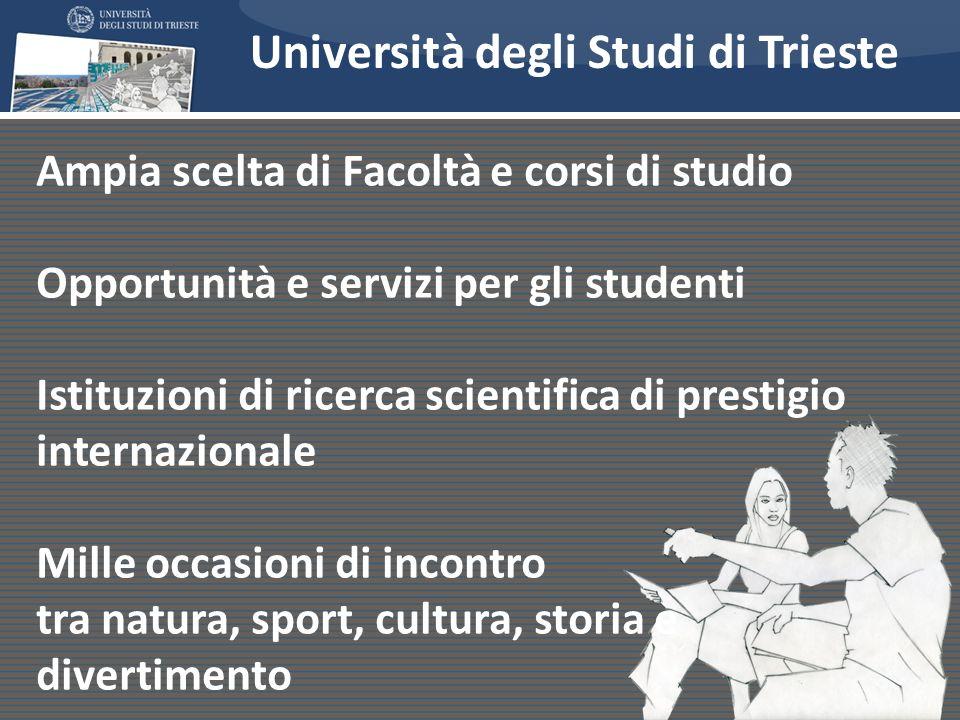 Perché studiare a Trieste? Ampia scelta di Facoltà e corsi di studio Opportunità e servizi per gli studenti Istituzioni di ricerca scientifica di pres