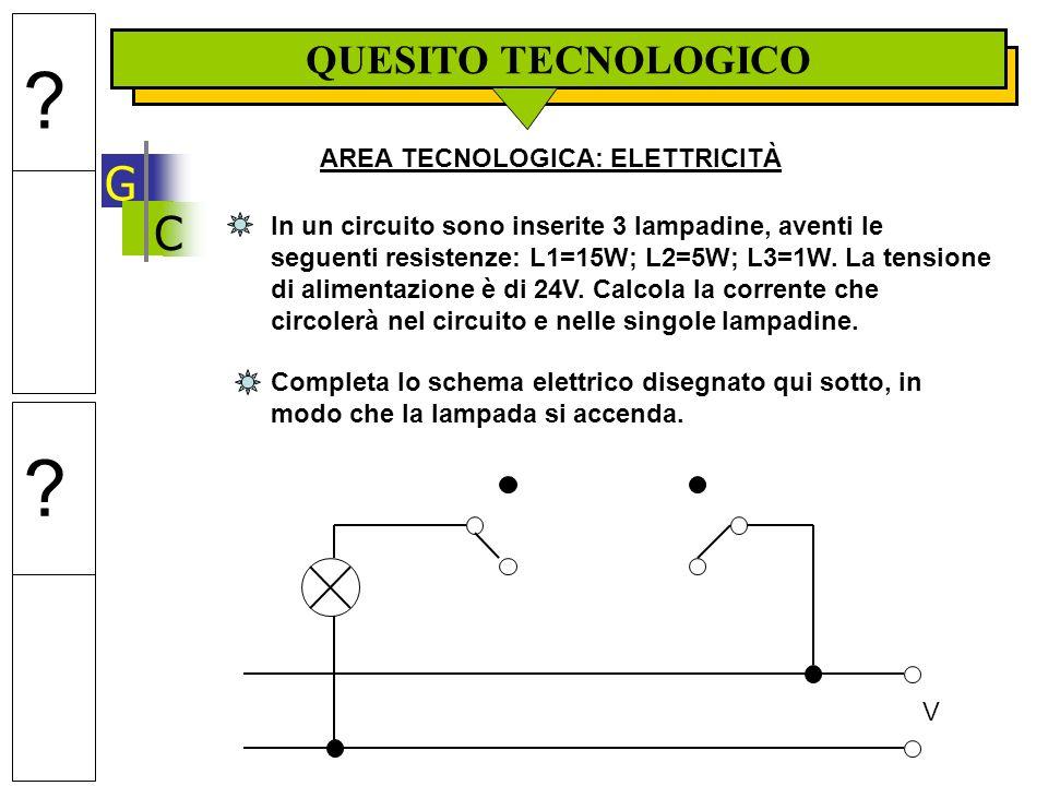 C QUESITO TECNOLOGICO G AREA TECNOLOGICA: ELETTRICITÀ In un circuito sono inserite 3 lampadine, aventi le seguenti resistenze: L1=15W; L2=5W; L3=1W.