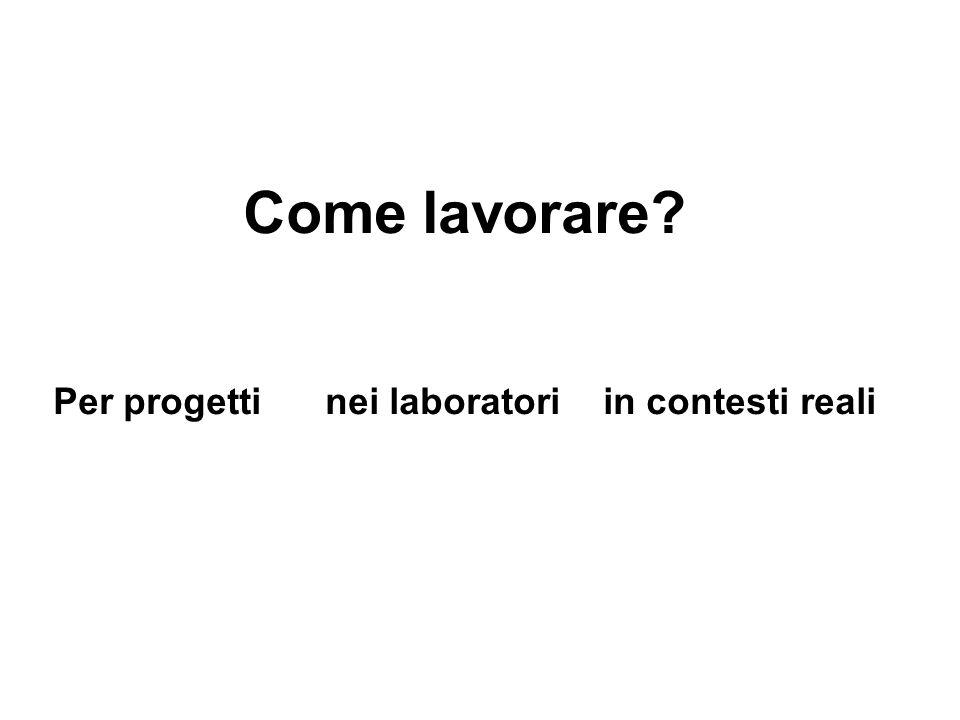 Come lavorare Per progetti nei laboratori in contesti reali