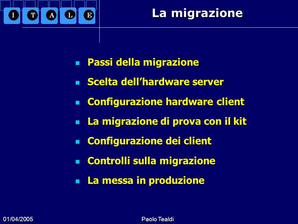 01/04/2005Paolo Tealdi Passi della migrazione Passi della migrazione Scelta dellhardware server Scelta dellhardware server Configurazione hardware cli