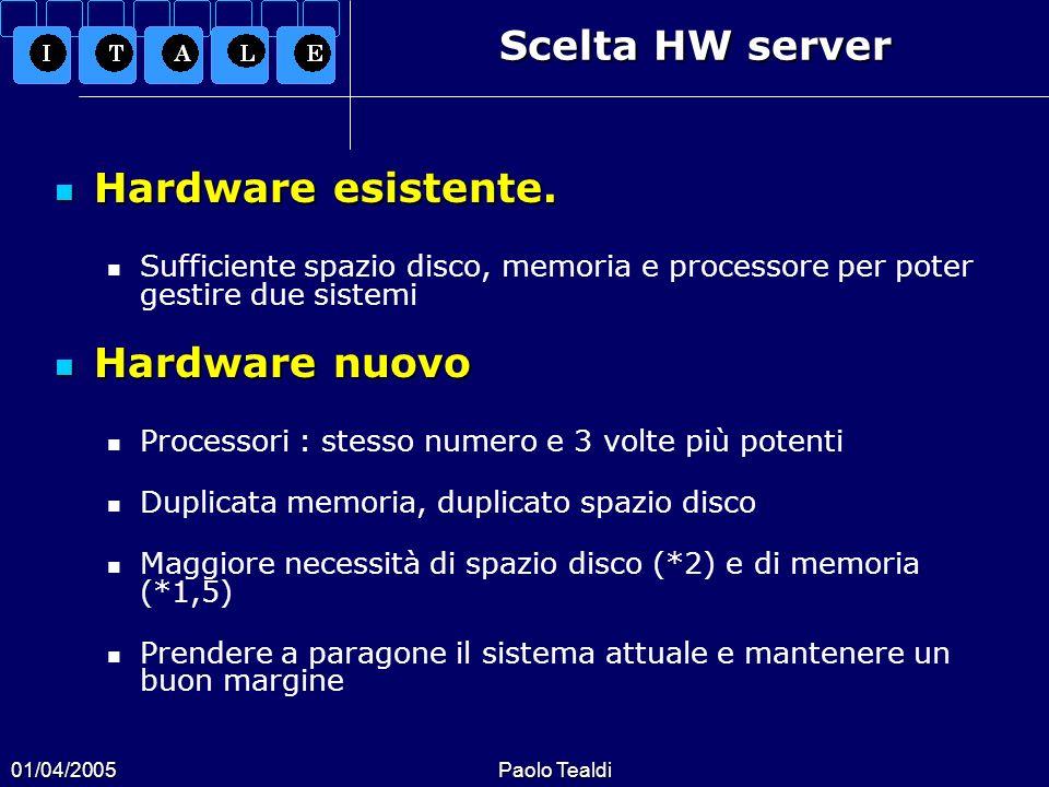 01/04/2005Paolo Tealdi Scelta HW server Hardware esistente. Hardware esistente. Sufficiente spazio disco, memoria e processore per poter gestire due s