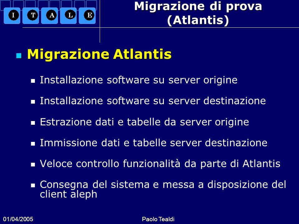 01/04/2005Paolo Tealdi Migrazione di prova (Atlantis) Migrazione Atlantis Migrazione Atlantis Installazione software su server origine Installazione s