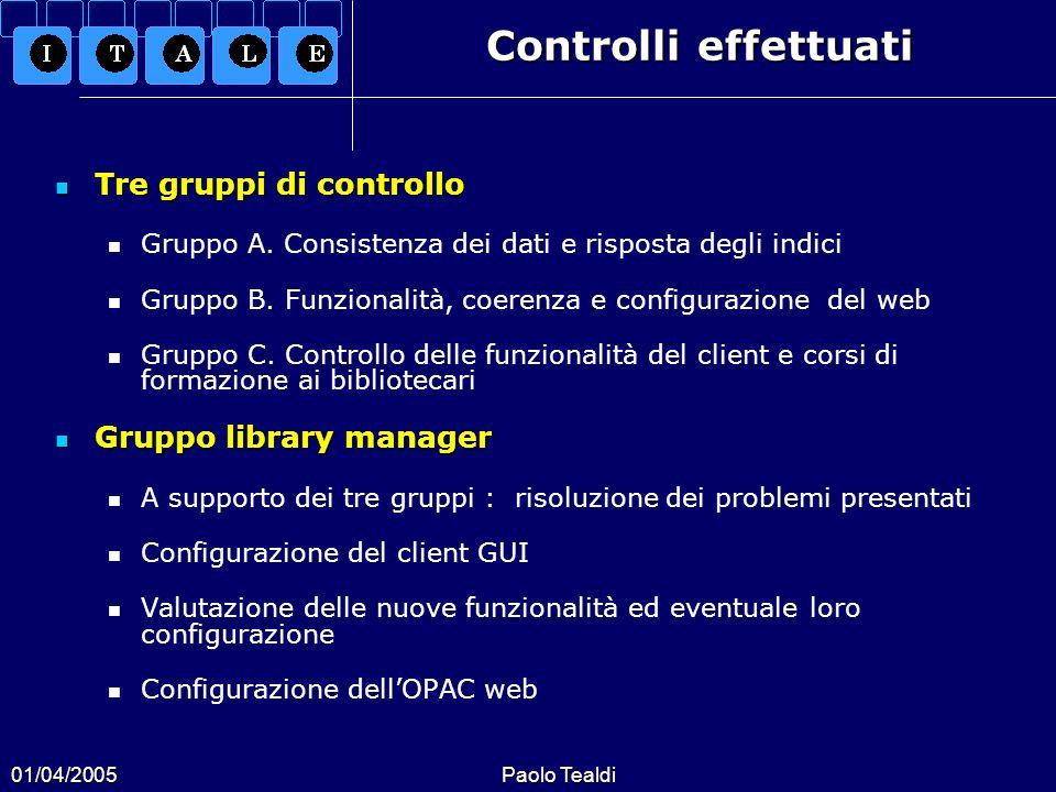 01/04/2005Paolo Tealdi Controlli effettuati Tre gruppi di controllo Tre gruppi di controllo Gruppo A. Consistenza dei dati e risposta degli indici Gru