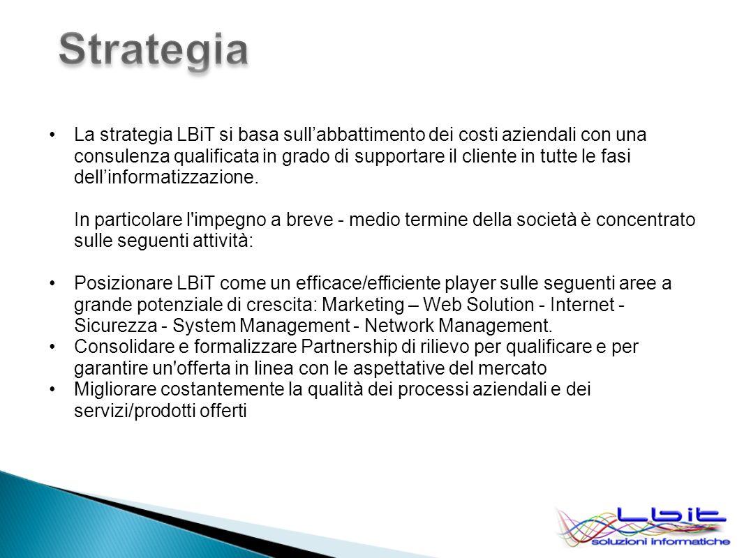 La strategia LBiT si basa sullabbattimento dei costi aziendali con una consulenza qualificata in grado di supportare il cliente in tutte le fasi dellinformatizzazione.