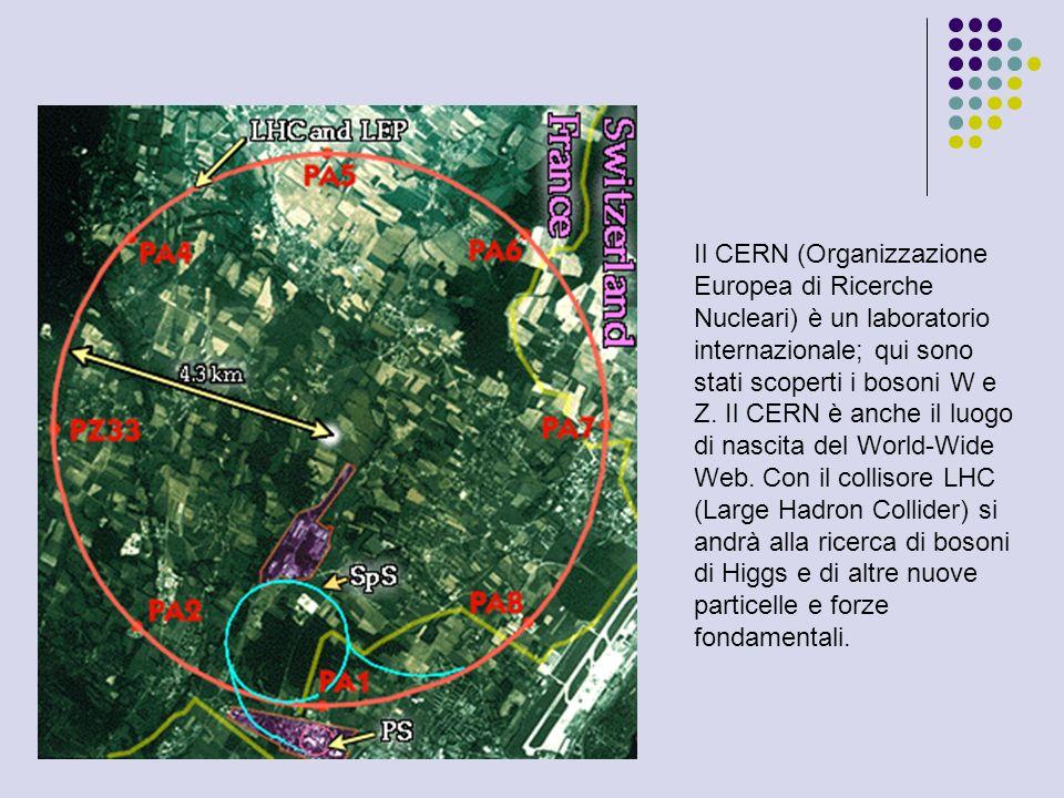 Il CERN (Organizzazione Europea di Ricerche Nucleari) è un laboratorio internazionale; qui sono stati scoperti i bosoni W e Z. Il CERN è anche il luog