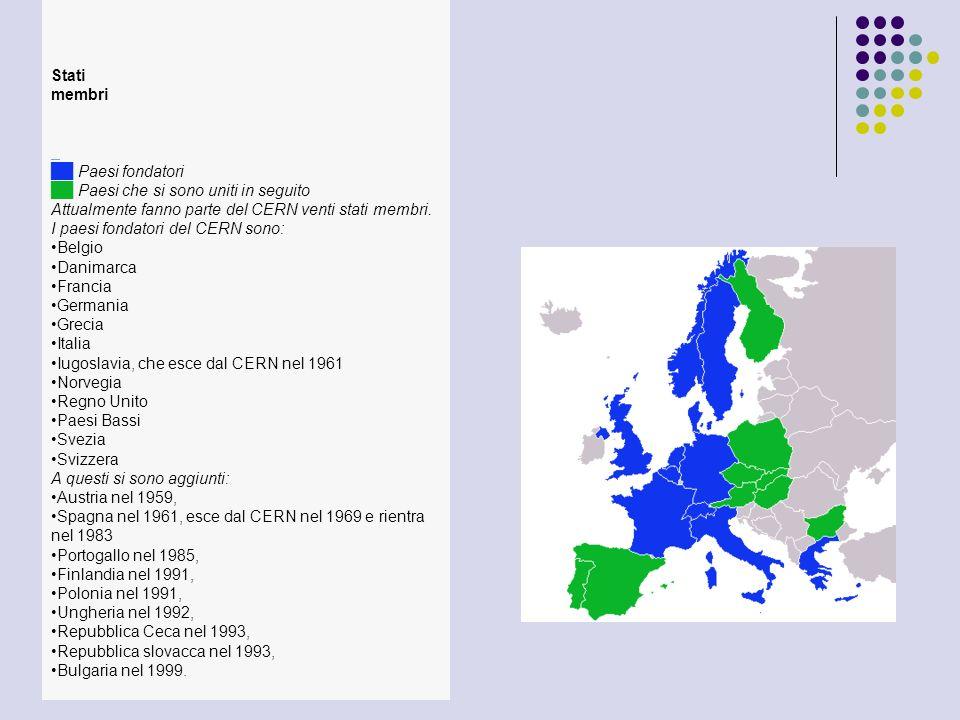 Stati membri Paesi fondatori Paesi che si sono uniti in seguito Attualmente fanno parte del CERN venti stati membri. I paesi fondatori del CERN sono: