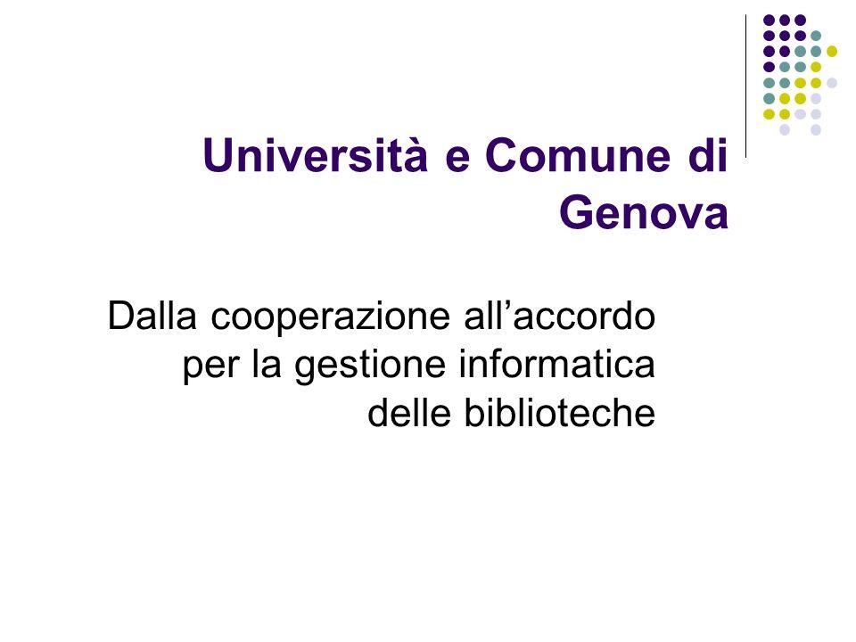 Formalizzazione Il catalogo gestito dallUniversità di Genova è frutto di una cooperazione nata nel 1997 tra Università e Comune basata su un accordo formalizzato nel 2000 e periodicamente rinnovato