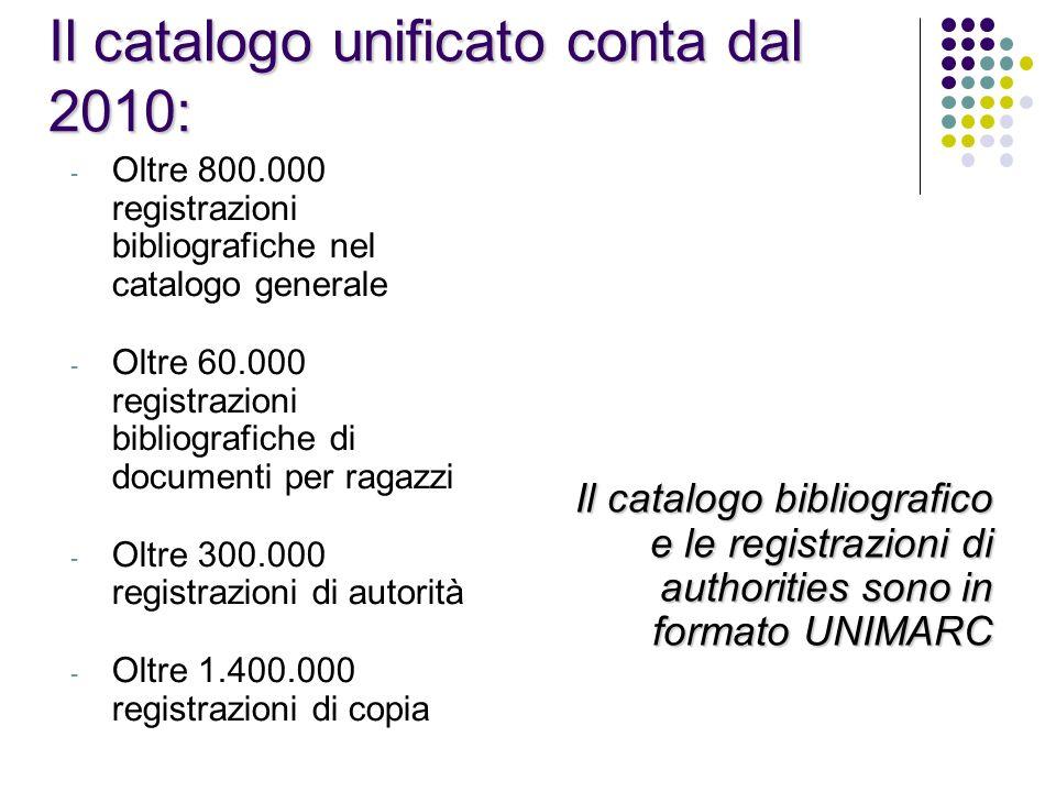 Il catalogo unificato conta dal 2010: - Oltre 800.000 registrazioni bibliografiche nel catalogo generale - Oltre 60.000 registrazioni bibliografiche d