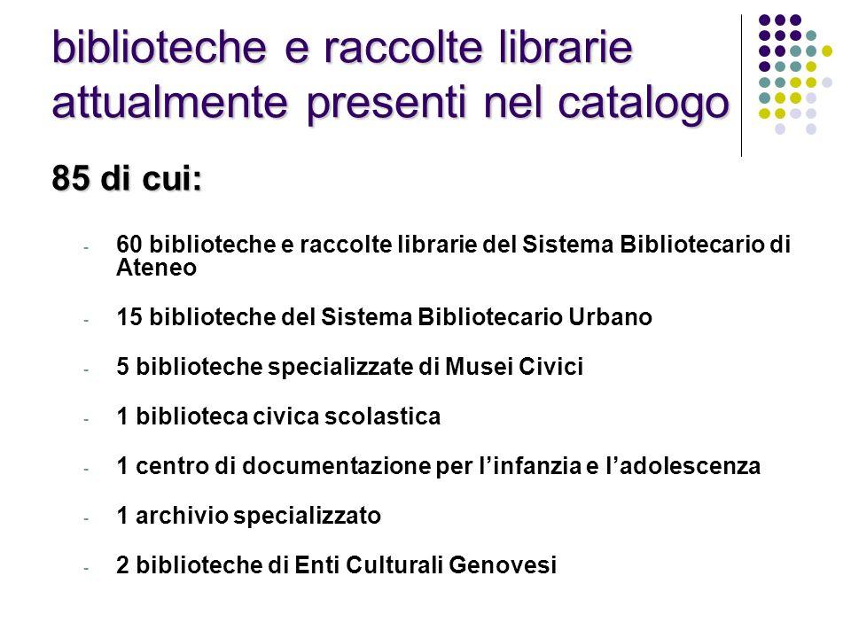 biblioteche e raccolte librarie attualmente presenti nel catalogo 85 di cui: - 60 biblioteche e raccolte librarie del Sistema Bibliotecario di Ateneo