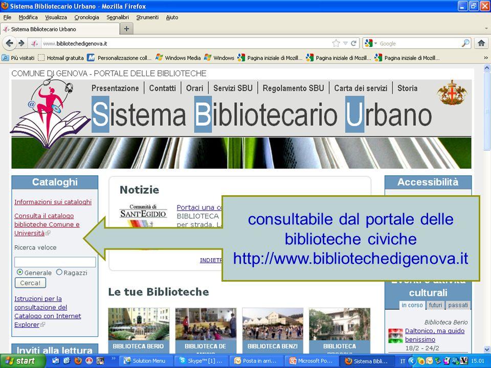 consultabile dal portale delle biblioteche civiche http://www.bibliotechedigenova.it