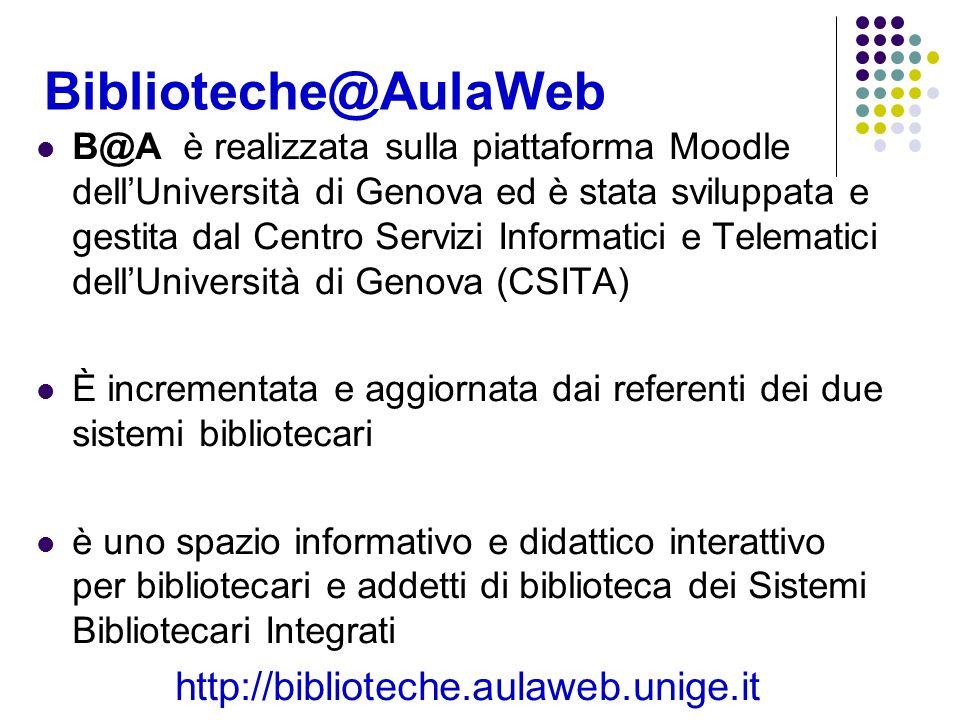 Biblioteche@AulaWeb B@A è realizzata sulla piattaforma Moodle dellUniversità di Genova ed è stata sviluppata e gestita dal Centro Servizi Informatici