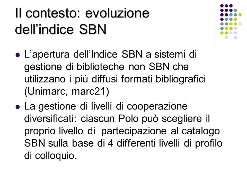 Il contesto: evoluzione dellindice SBN Lapertura dellIndice SBN a sistemi di gestione di biblioteche non SBN che utilizzano i più diffusi formati bibl