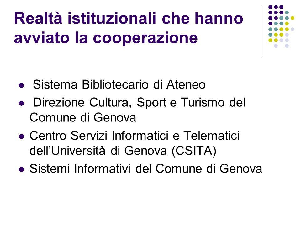 Realtà istituzionali che hanno avviato la cooperazione Sistema Bibliotecario di Ateneo Direzione Cultura, Sport e Turismo del Comune di Genova Centro