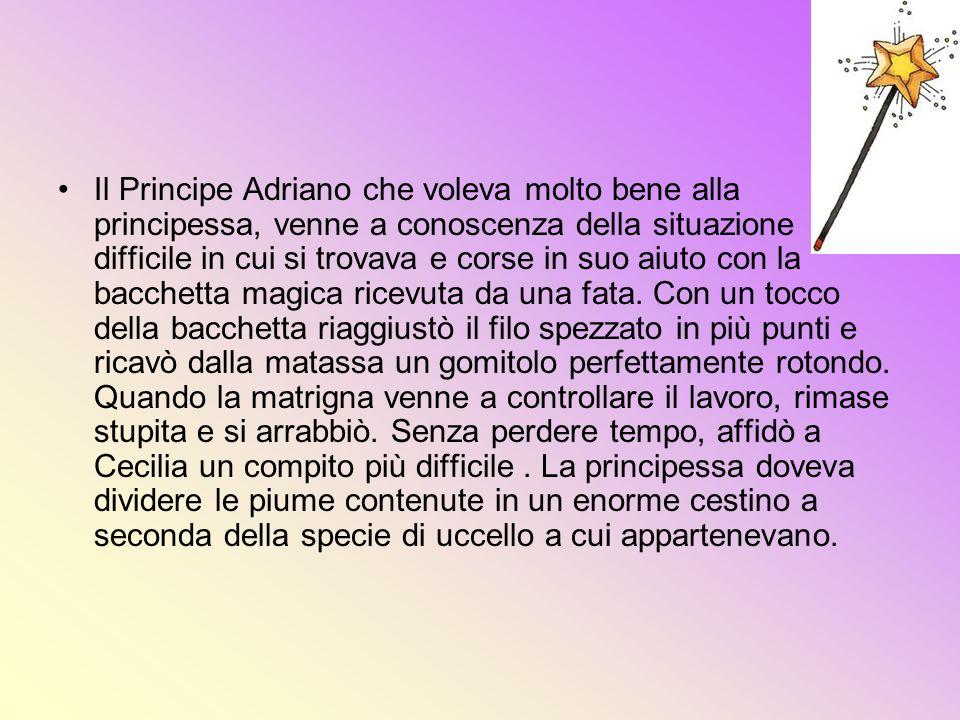 Il Principe Adriano che voleva molto bene alla principessa, venne a conoscenza della situazione difficile in cui si trovava e corse in suo aiuto con l