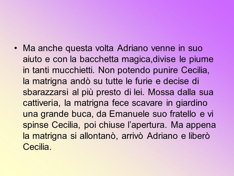 Ma anche questa volta Adriano venne in suo aiuto e con la bacchetta magica,divise le piume in tanti mucchietti. Non potendo punire Cecilia, la matrign