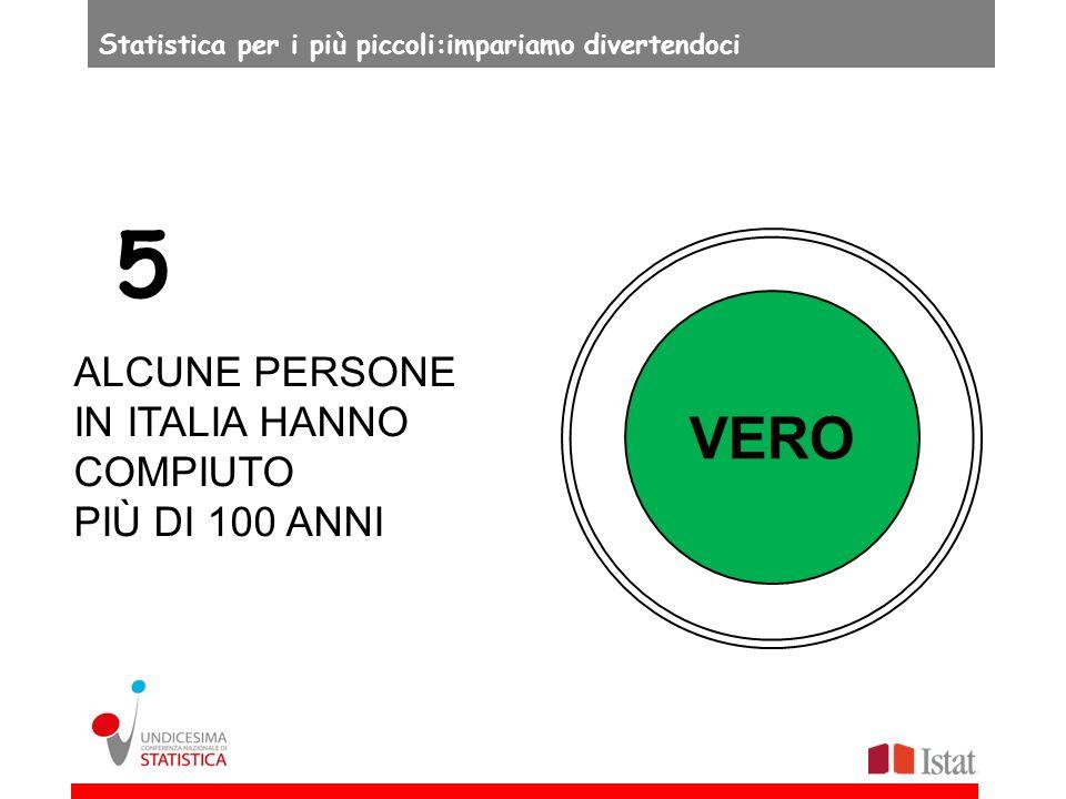 VERO ALCUNE PERSONE IN ITALIA HANNO COMPIUTO PIÙ DI 100 ANNI 5 Statistica per i più piccoli:impariamo divertendoci