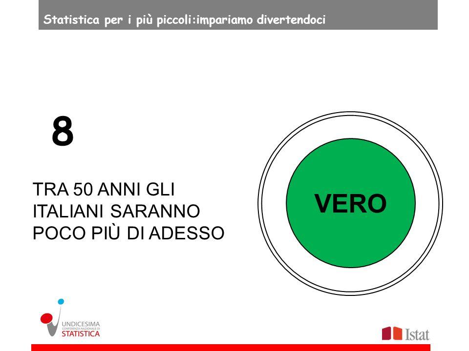 VERO TRA 50 ANNI GLI ITALIANI SARANNO POCO PIÙ DI ADESSO 8 Statistica per i più piccoli:impariamo divertendoci