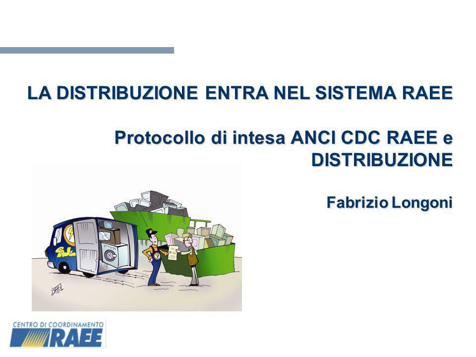 1 LA DISTRIBUZIONE ENTRA NEL SISTEMA RAEE Protocollo di intesa ANCI CDC RAEE e DISTRIBUZIONE Fabrizio Longoni
