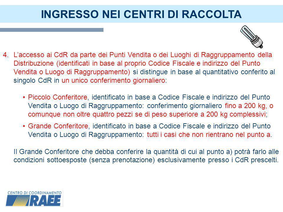 6 INGRESSO NEI CENTRI DI RACCOLTA 5.I Distributori si accreditano al portale del CdC RAEE indicando la loro modalità di conferimento ai CdR di cui al punto 4.