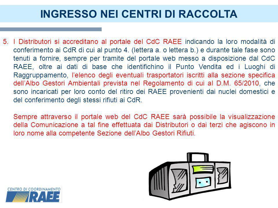 7 INGRESSO NEI CENTRI DI RACCOLTA 6.La Distribuzione accede al portale web del CdC RAEE per lindividuazione dei CdR che possano erogare il servizio alla Distribuzione stessa.