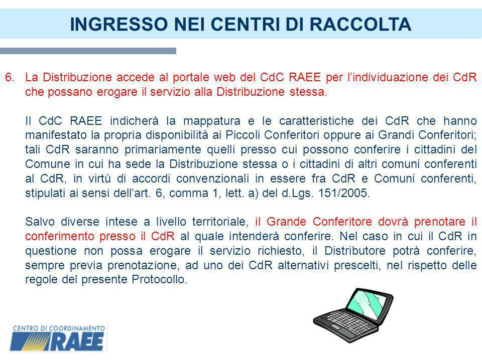 8 INGRESSO NEI CENTRI DI RACCOLTA 7.Il conferimento dei RAEE ai CdR da parte dei Soggetti titolati previsti dal Regolamento di cui al D.M.
