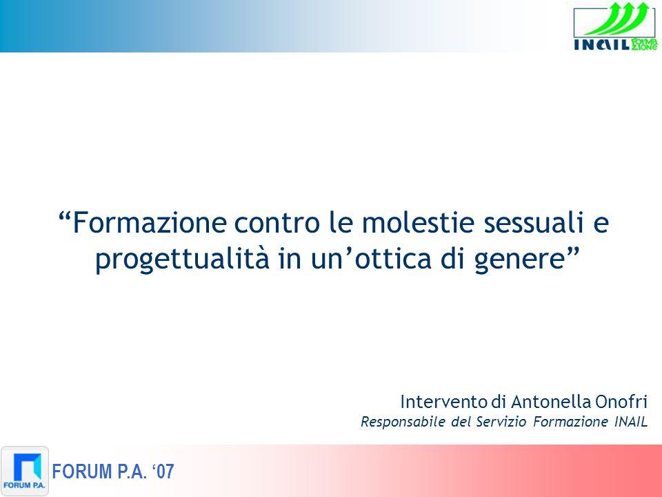 Intervento di Antonella Onofri Responsabile del Servizio Formazione INAIL Formazione contro le molestie sessuali e progettualità in unottica di genere